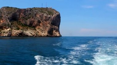 Boating in Mediterranean sea in Cabo de la Nao Cape Alicante Spain — Video Stock