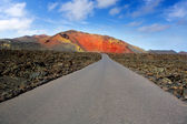 Lanzarote Timanfaya Fire Mountains road — Stock Photo