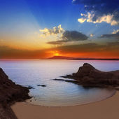 Lanzarote Playa Papagayo beach sunset — Stock Photo