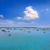 Arrecife Lanzarote boats harbour in Canaries — Stock Photo