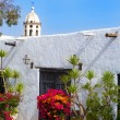 Lanzarote Teguise white village with church tower — Stock Photo