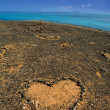 Lanzarote Papagayo and stones heart — Stock Photo