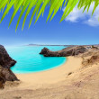 Lanzarote Papagayo turquoise beach and Ajaches - Stock Photo