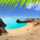 Lanzarote Papagayo turquoise beach and Ajaches — Stock Photo