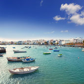 Arrecife in Lanzarote Charco de San Gines boats — Stock Photo
