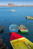 Arrecife Lanzarote boats in harbour at Canaries — Stock Photo