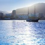 Los Cristianos harbor port sailboat sunrise in Adeje — Stock Photo