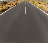Closeup of road persective vanishing in infinite — Stock Photo