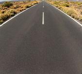 Closeup of road persective vanishing in infinite — Stock Photo