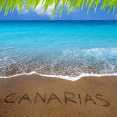 Brown beach sand with written word Canarias — Stock Photo