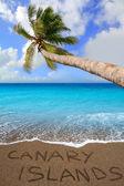 Arena de la playa marrón escrito palabra canarias — Foto de Stock