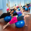 Pilates aerobic women group with stability ball — Stock Photo #13298996
