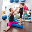 Aerobics woman personal trainer of children girl — Stock Photo #13299214