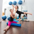 Aerobics woman personal trainer of children girl — Stock Photo #13299222