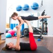 Aerobics woman personal trainer of children girl balance — ストック写真