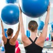 Stability ball in women Pilates class rear view — Stock Photo #13299934