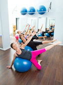Aerobic Pilates women group with stability ball — ストック写真