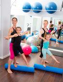 Aerobics pilates women kid girls personal trainer — Stock Photo