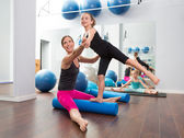 Aerobics woman personal trainer of children girl — Stock Photo