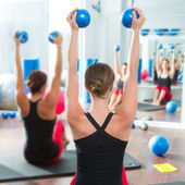 Blue toning ball in women pilates class rear view — Zdjęcie stockowe