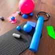 Aerobic Pilates stuff like mat balls roller magic ring — Stok fotoğraf
