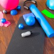 Stock Photo: aerobic pilates stuff like mat balls roller magic ring