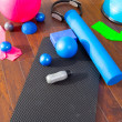 Aerobic Pilates stuff like mat balls roller magic ring — Stock Photo