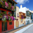 Stock Photo: SantCruz de LPalmcolonial house facades