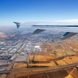 Airplane takeoff from Madrid barajas in Spain — Stok fotoğraf