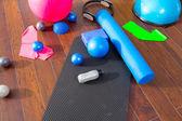 Coisas de pilates aeróbio como bolas de esteira rolo anel mágico — Foto Stock