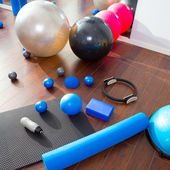 Aerobic Pilates stuff like mat balls roller magic ring — Stock fotografie