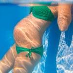 Beautiful pregnant woman underwater blue pool — Stock Photo #13478149