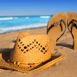 Golden sand beach with summer hat and sandals — Stok fotoğraf