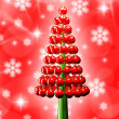 Christmas tree glossy red baubles 3d render - Stock Photo