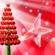 christmas tree glossy red baubles 3d render — Stock Photo