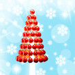 Stock Photo: christmas tree glossy red baubles 3d render