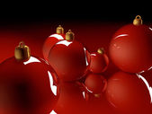 Christmas glossy baubles red balls 3d render — Stock Photo