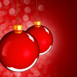 Christmas baubles balls in golden red — Stock Photo