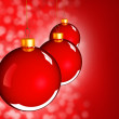 Christmas baubles balls in golden red - Stock Photo