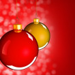 Stockfoto: Christmas baubles balls in golden red