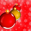 Stock Photo: Christmas baubles balls in golden red