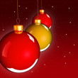 Christmas baubles balls in golden red - 