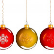 Christmas baubles balls in golden red — Stock Photo #13648561