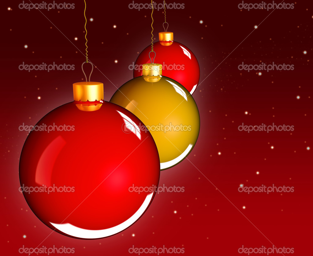 Christmas baubles balls in golden red as holidays background  Stockfoto #13648526