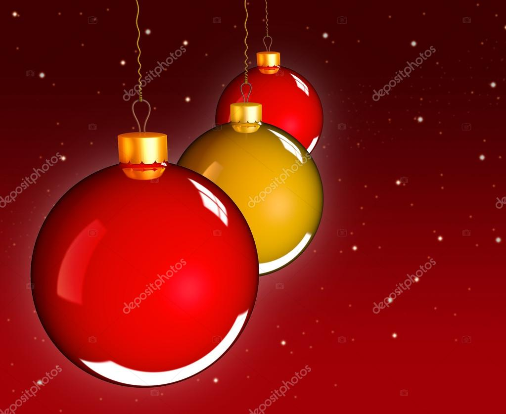 Christmas baubles balls in golden red as holidays background — Foto de Stock   #13648526