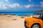 Aqua formentera sea Es Calo and vintage car — Stock Photo