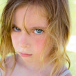 Angry blond children girl portrait looking camera — Stock Photo #13831377