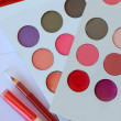 Eyeshadow lipstick pen eyelashes mask cosmetics - Stock Photo