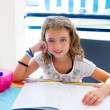 Children kid girl smiling with homework in summer — Stockfoto