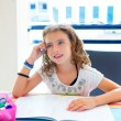 Children kid girl smiling with homework in summer - Lizenzfreies Foto